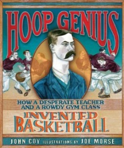 book cover of Hoop Genius by John Coy illustrated by John Morse published by Carolrhoda Books