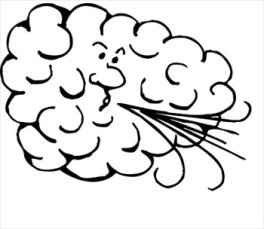 sketch of cloud with face blowing out wind