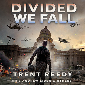 CD cover of Divided We Fall By Trent Reedy Read by Andrew Eiden et al. Published by Scholastic Audio