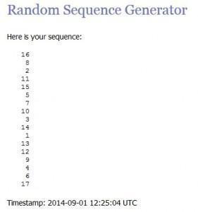 screenshot of random.org showing winner is number 16