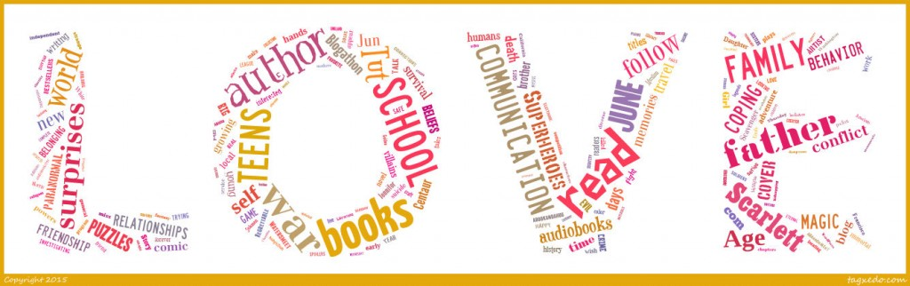 BooksYALove 2015 Tagxedo wordcloud in LOVE shape
