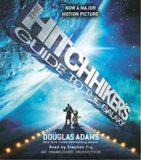 CD cover of The Hitchhiker's Guide to the Galaxy by Douglas Adams Read by Stephen Fry Published by Random House Audio | recommended on BooksYALove.com